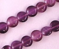 16 Inch Strand Amethyst 8mm Coin Cats Eye Beads